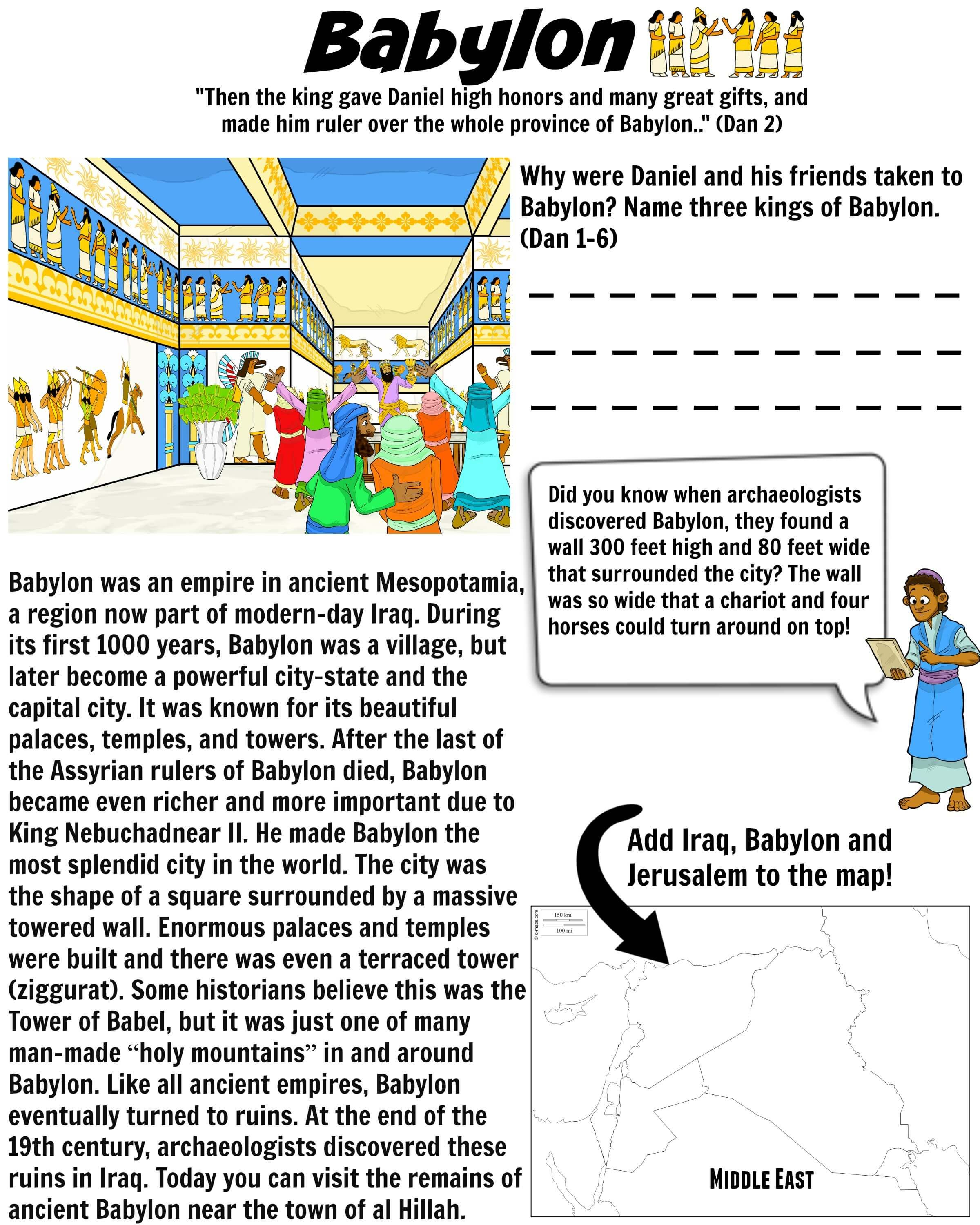 Babylon Mesopotamia Bible Worksheet For Kids