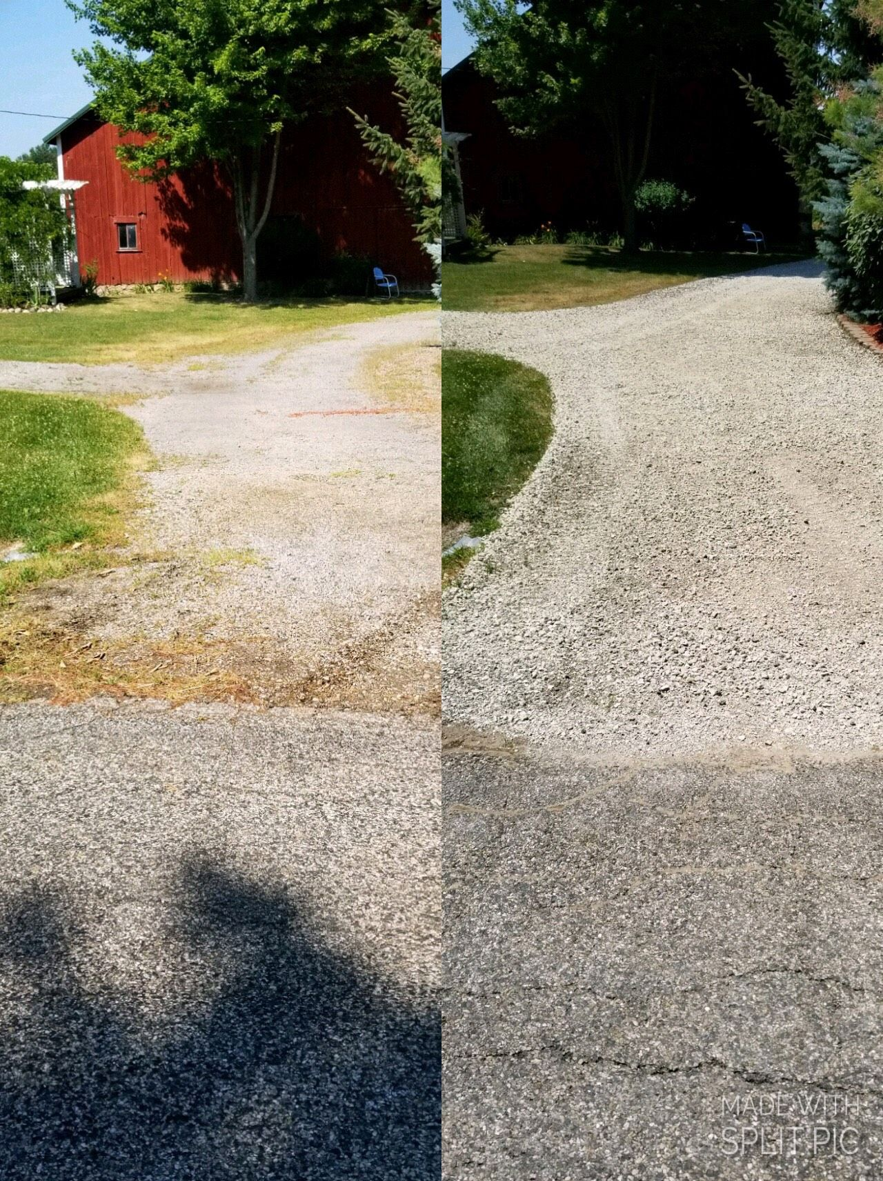 Before And After Gravel Driveway Repair Limestone Driveway Repair Gravel Driveway Landscape