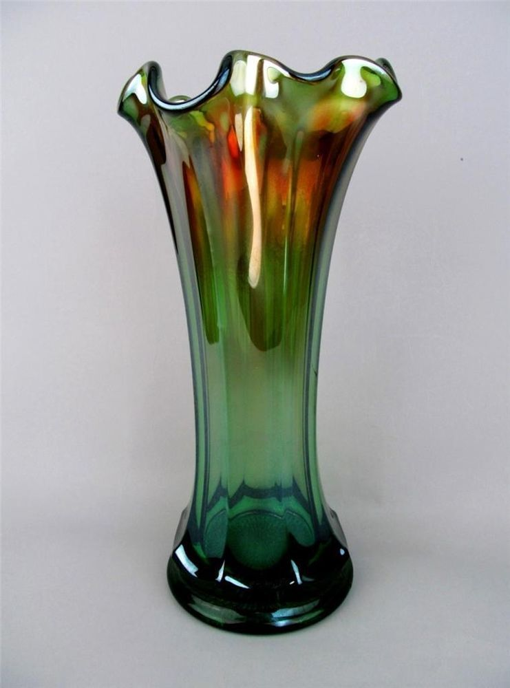 Carnival Glass Northwood 1930s Green Tree Trunk Vase Northwood