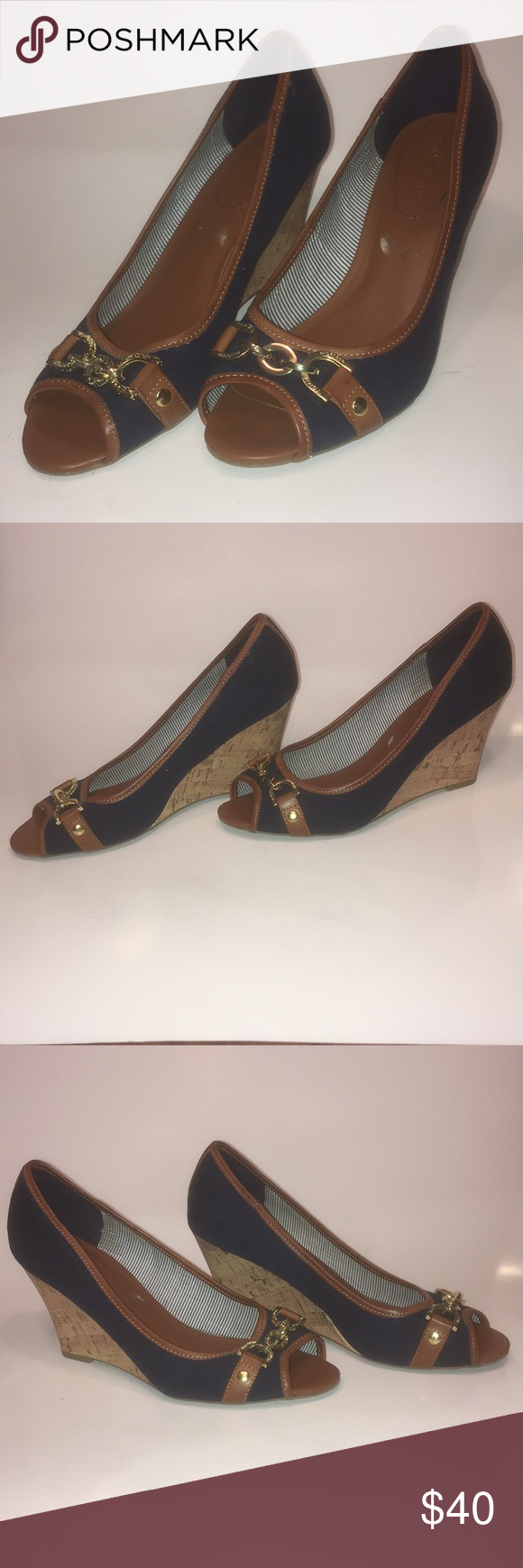 Tommy Hilfiger Blue Wedge Shoes This is a great pair of wedges in wonderful condition. They are blue with brown trim, and wonderful gold tone accent pieces that show no signs of wear. Tommy Hilfiger Shoes Wedges