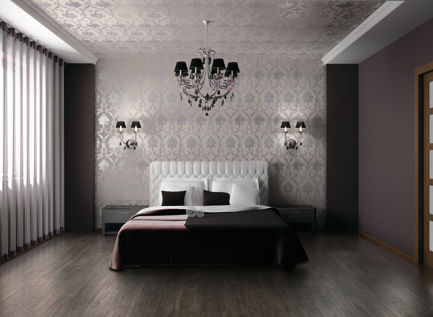 Elegant Grey And White Bedroom With Ruby Red Rug Blinds Chandelier Decorative Wallpaper