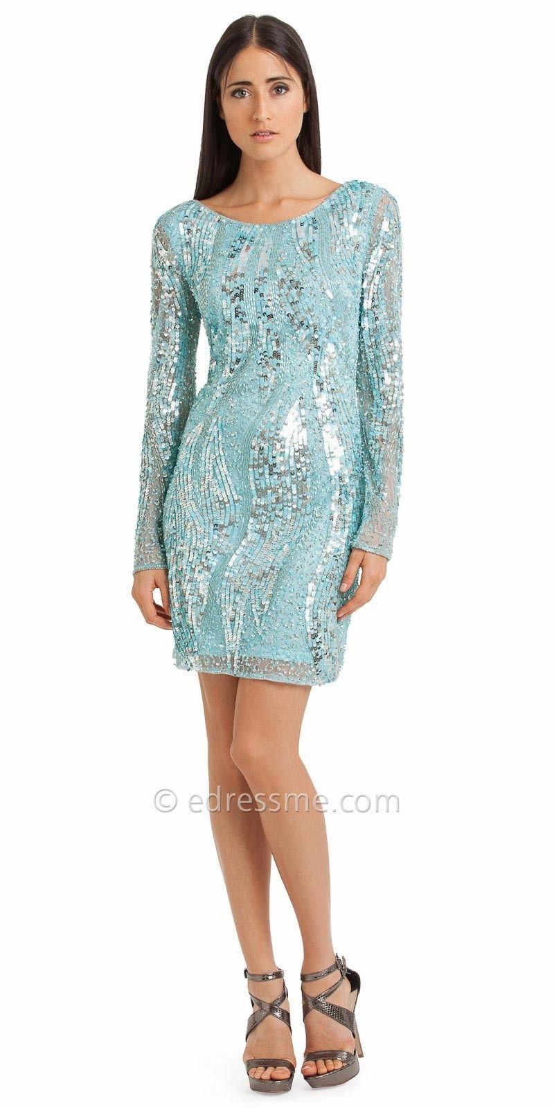Beaded long sleeve dress