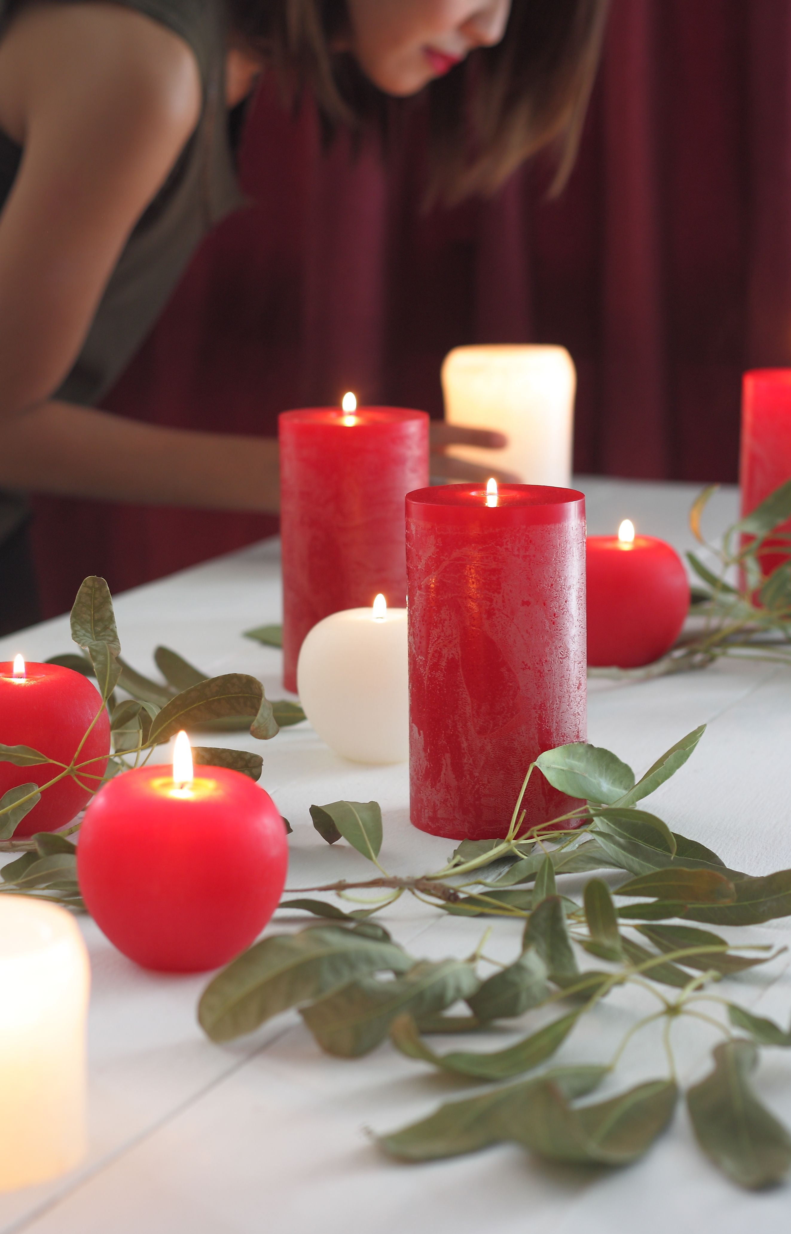 Our Timber Candles In Crb Mw Shown Along With Our Brushed Apple Candles In Red Wh Apple Candles Candles Holiday Home Decor