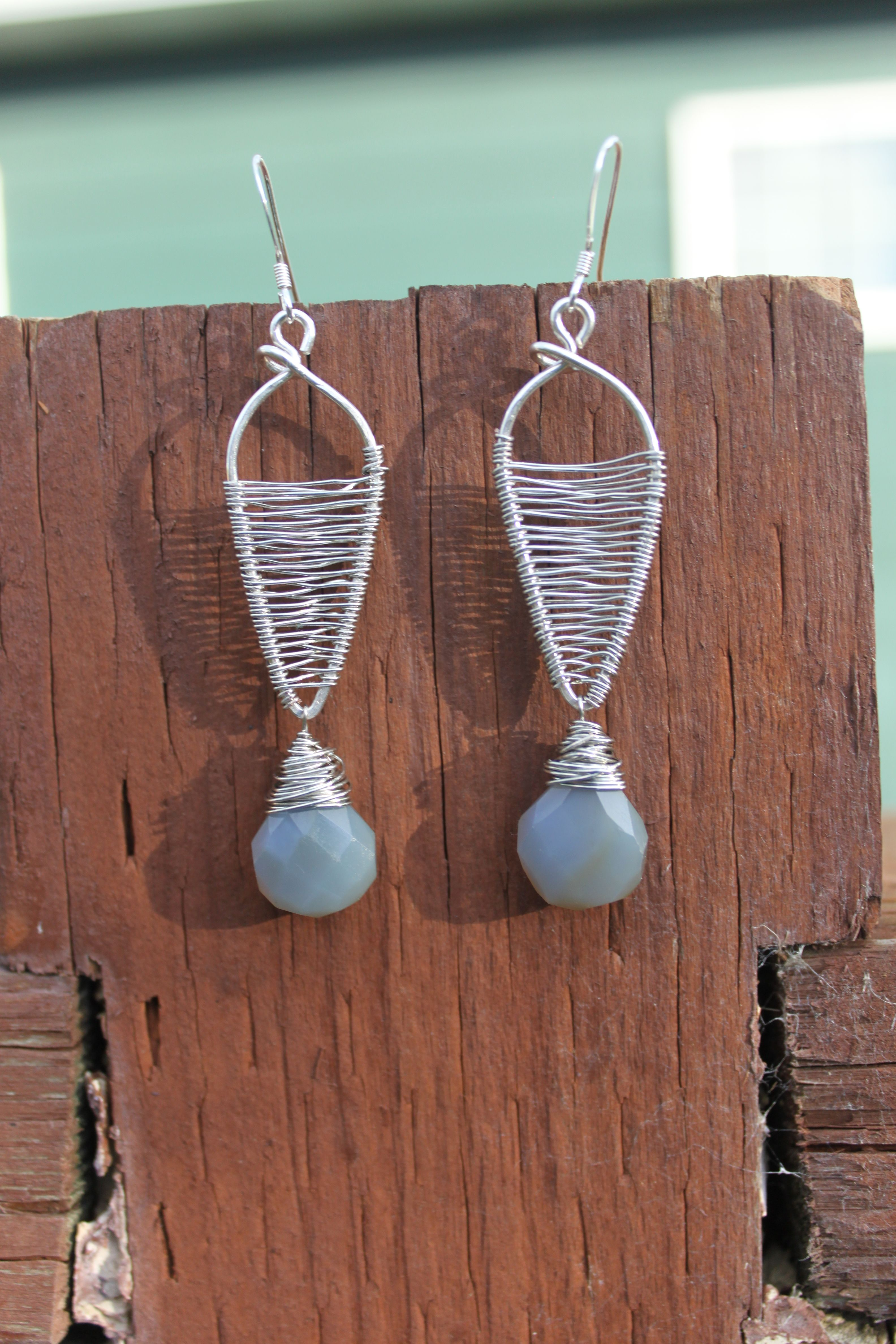 Wrapped Sterling Silver with Chalcedony Drop Earrings, by Cindy Larson Accessories