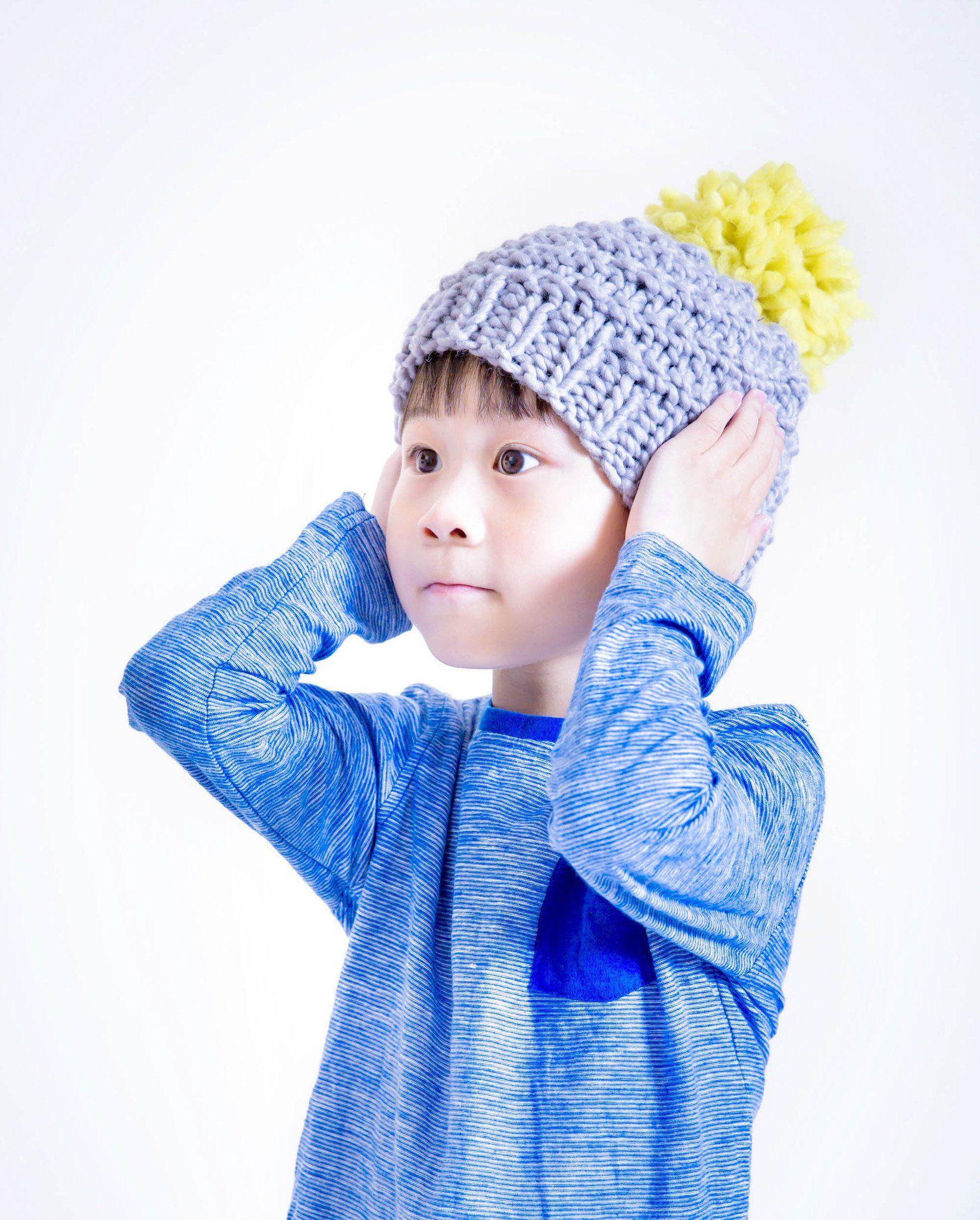 1c78b601ef4 Mini Luca Pom Hat Knitting Kit - Lime Yellow   Stormy Grey