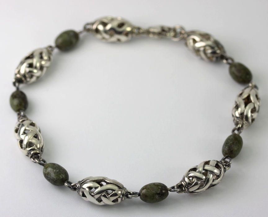 Sterling Silver Connemara Marble Oval Celtic Knot Bead Bracelet Solvar Ireland