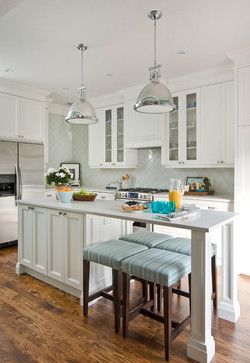 This Is An Interesting 2 Sided Seating Configuration With No Cabinet Under The Eating Are Kitchen Design Small Kitchen Dining Room Combo Narrow Kitchen Island