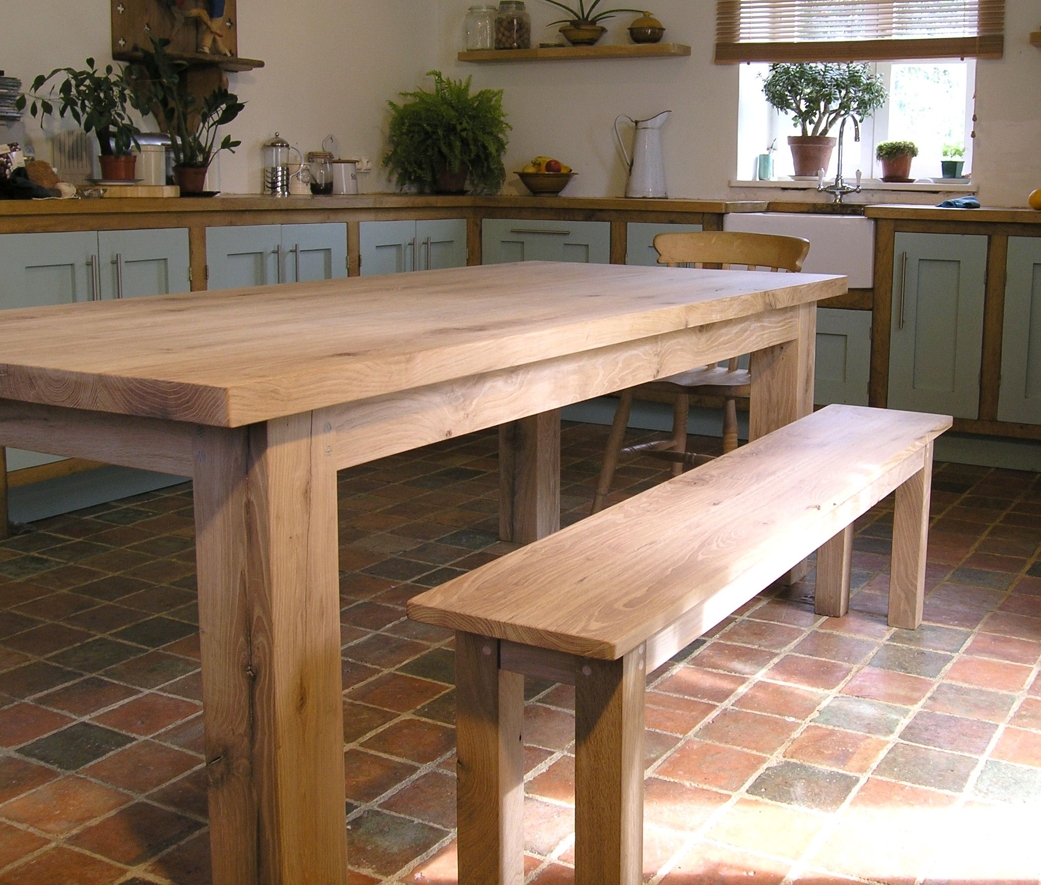 Large Centrally Supported Dining Table Handmade From American Oak