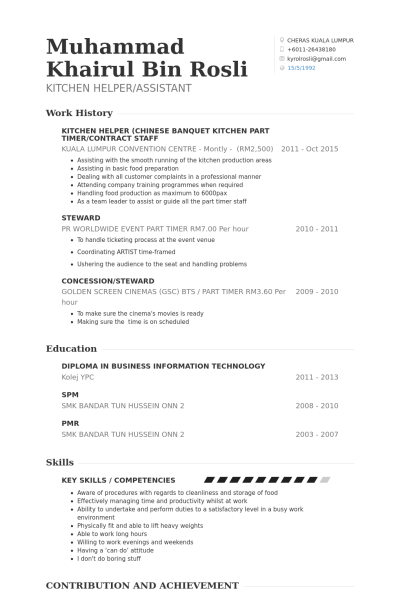 For Kitchen Helper | Pinterest | Restaurant manager, Resume examples ...