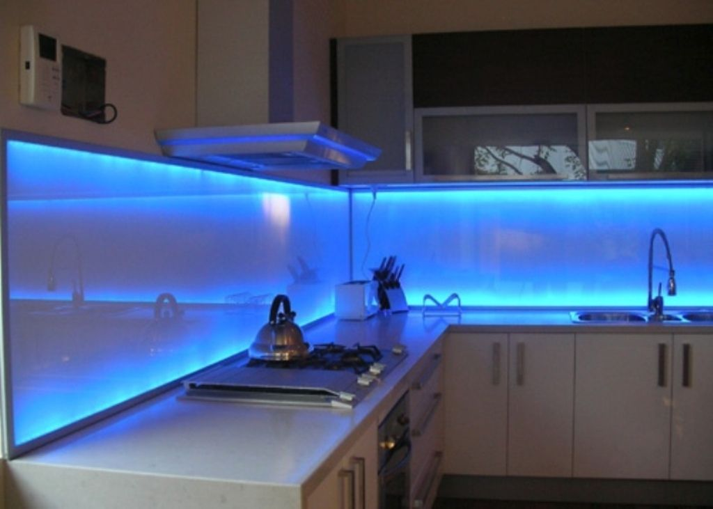 Amazing kitchen ideas with soft blue led lighting and for Cheap kitchen lighting ideas
