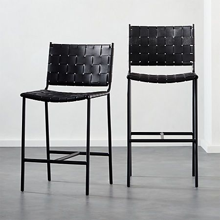 6b6d9ddb2a85 Woven Black Leather Counter Stool 24