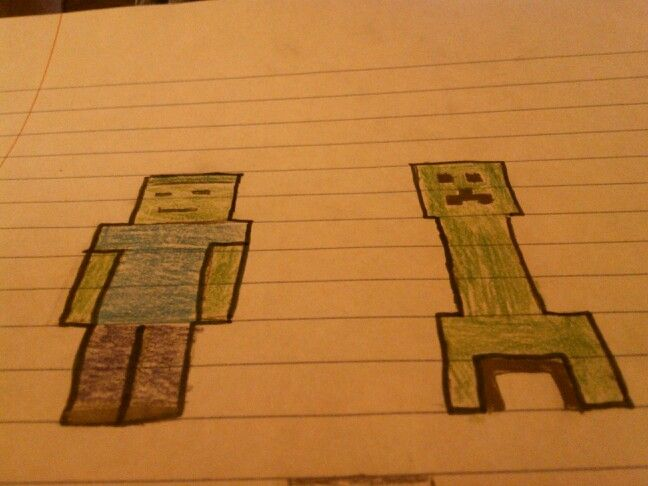 Best Hand Drawn Minecraft Zombie And Creeper Drawn With Only A 640 x 480
