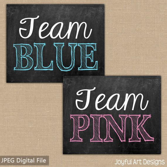 PRINTABLE DIGITAL FILES Gender Reveal Team Boy or Team Girl Welcome Sign Hot Pink and Royal Blue on Black Printable Personalized