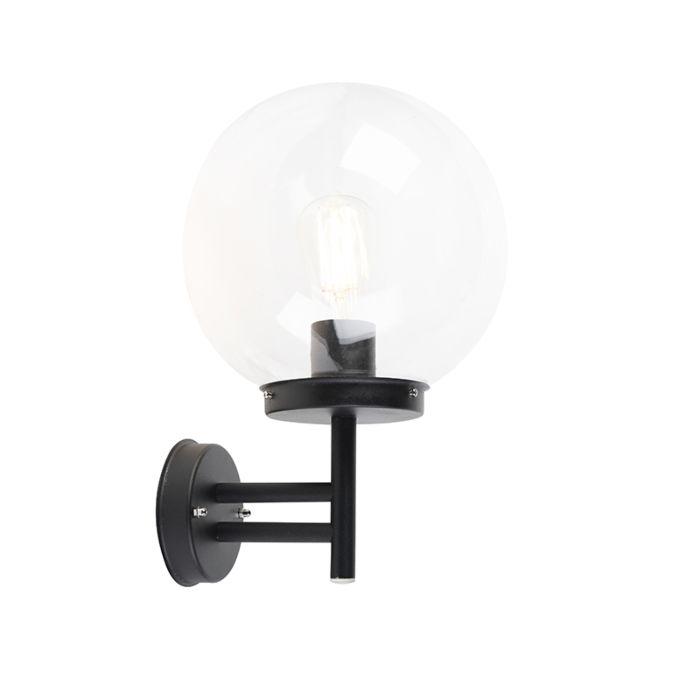Nowoczesny Kinkiet Zewnetrzny Czarny Z Przezroczysta Zarowka Spher Lampyiswiatlo Wall Lights Sconces Light