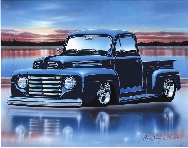 This Is An 11x14 Inch Art Print Of A 1948 50 Ford F1 Pickup From