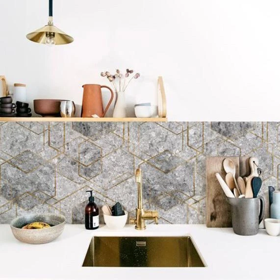 designer kitchen splashback wallpaper  granite hexagon in