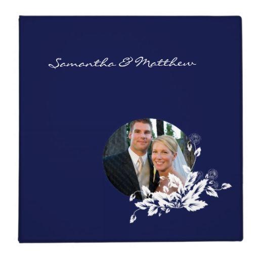Custom Wedding Album Binder Blue Floral Frame