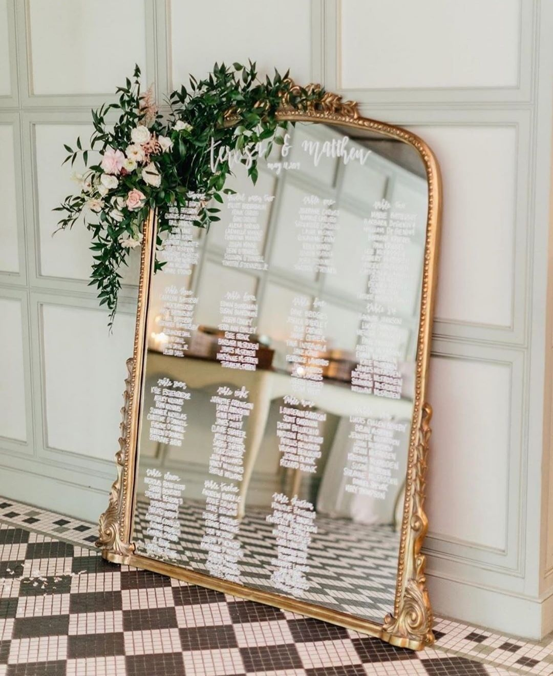 Vintage Wedding Seating Chart On A Mirror