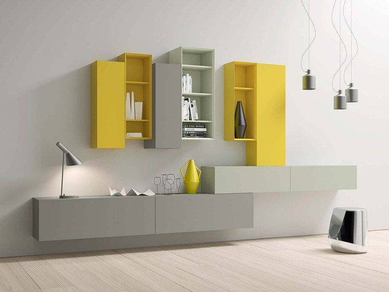 Wall-mounted lacquered storage wall SPAZIO S460 by PIANCA