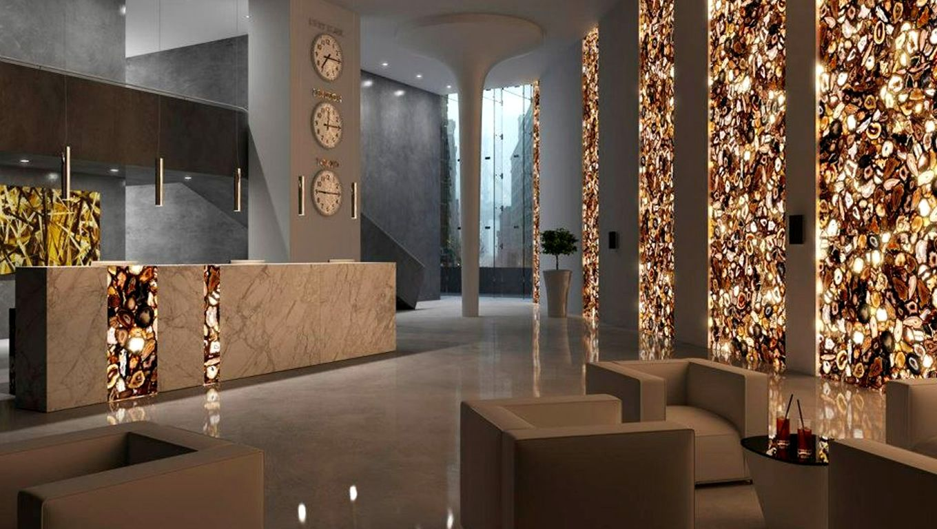 commercial interior with natural agate stoneantolini luigi