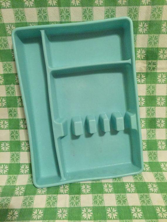 Vintage Turquoise Aqua Silverware Holder Forks by WebsterFarmCo