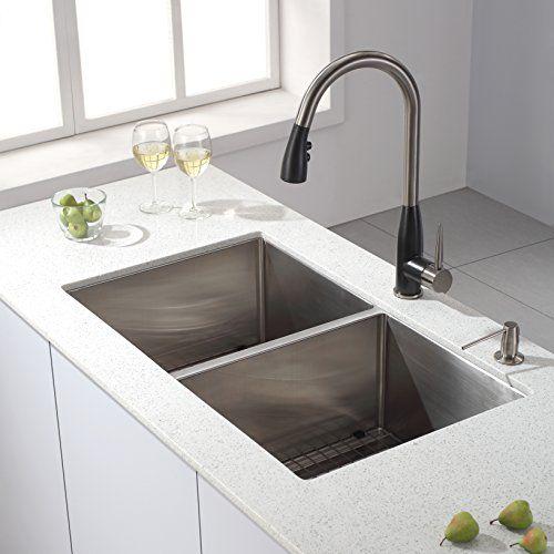 Kraus 33 Inch Undermount 50 Double Bowl 16 Gauge Stainless Steel Kitchen Sink