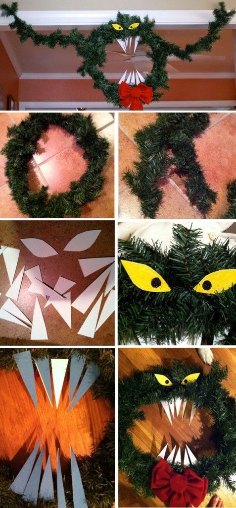 Christmas or Halloween? the Man Eating Wreath Wreath tutorial - the nightmare before christmas decorations