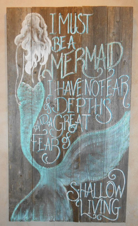 Barnwood Mermaid Sign, Hand Painted, Original, Glittered, Beach ...