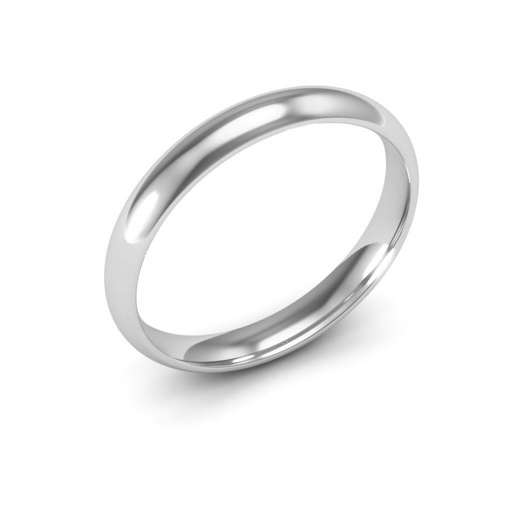 14k White Gold Men S And Women S Plain Wedding Bands 3mm Comfort Fit