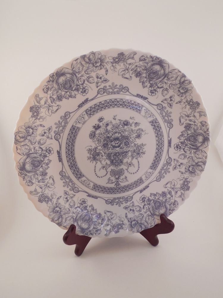 Set of 3 Arcopal France Honorine Blue & White Floral China 10.75 ...