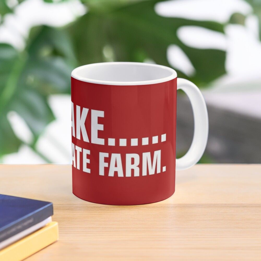 11oz ceramic mug featuring wraparound print. Available in two shapes. Dishwasher safe. Jake From State Farm