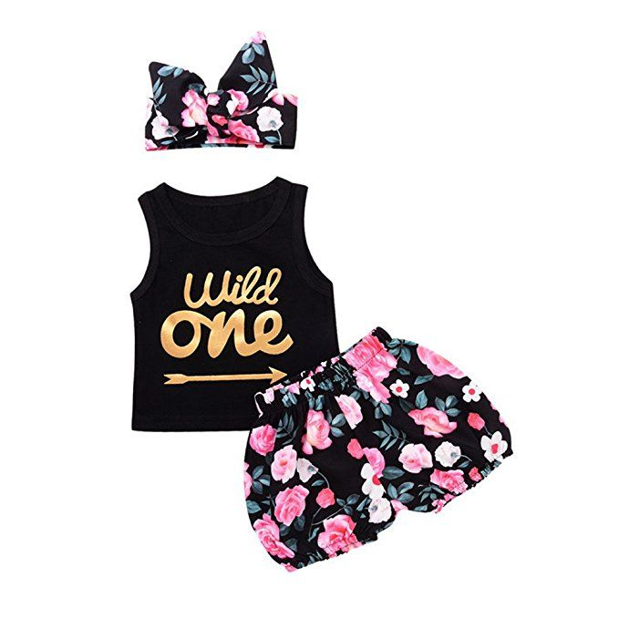 24b6fde732d PROBABY Baby Girl Clothes Set Wild One Sleeveless Vest Tops Floral Shorts  with Headband 3PCS Summer Outfit