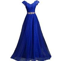 Generic Women's V Neck Cap Sleeve Lace Party Prom Dresses