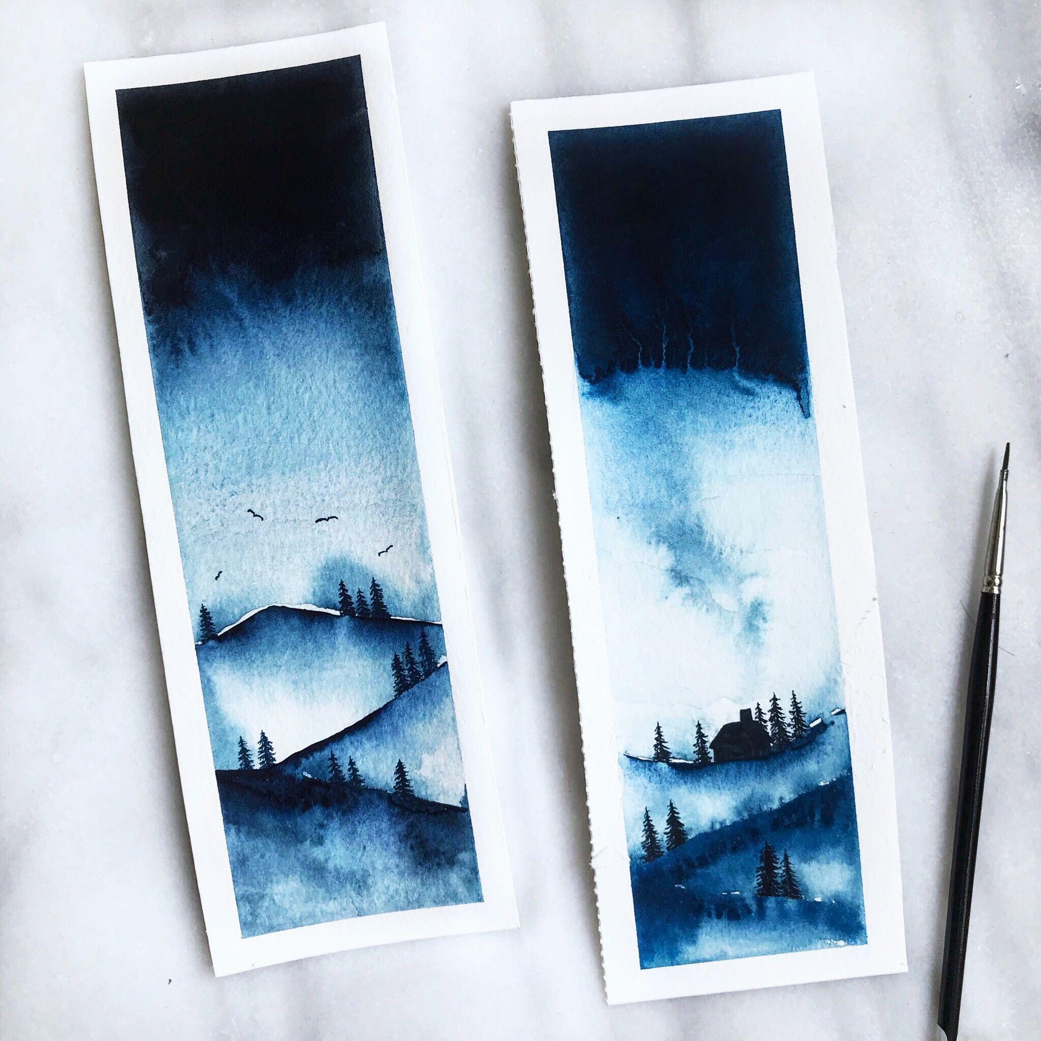 Landscape Watercolour Bookmark Art Painting Art Watercolor Bookmarks