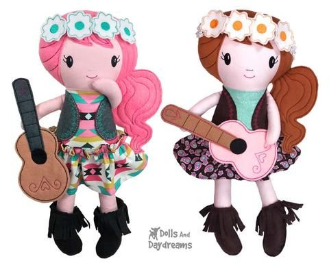 ITH Boho Babes Pattern is part of Boho Clothes Patterns - An Embroidery Machine Doll Pattern to make Boho Babes in the hoop  These happy Hippy chicks come in 4 hoop sizes and makes the perfect summer best friend for your little ones! The pattern includes her removable Flower Crown, Fringe Boots, Fringe Scarf and Guitar and Mini skirt tutorial too! Fun, Fast and Versatile!   4 Hoop Sizes Included  8x12 hoop (Creates a 18 5 tall Doll), 7x12 (18 ), 6x10 (15 ) & 5x7 Hoop (11 ) Available in these formats PES  VIP  XXX  HUS  JEF  EXP  DST  This Doll fit's our Dress Up Clothes Patterns!  Hooray!