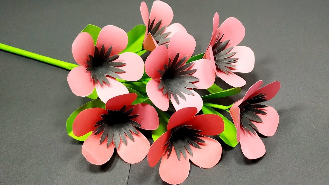 Flower Very Easy Beautiful Stick Flower Making Idea With Paper