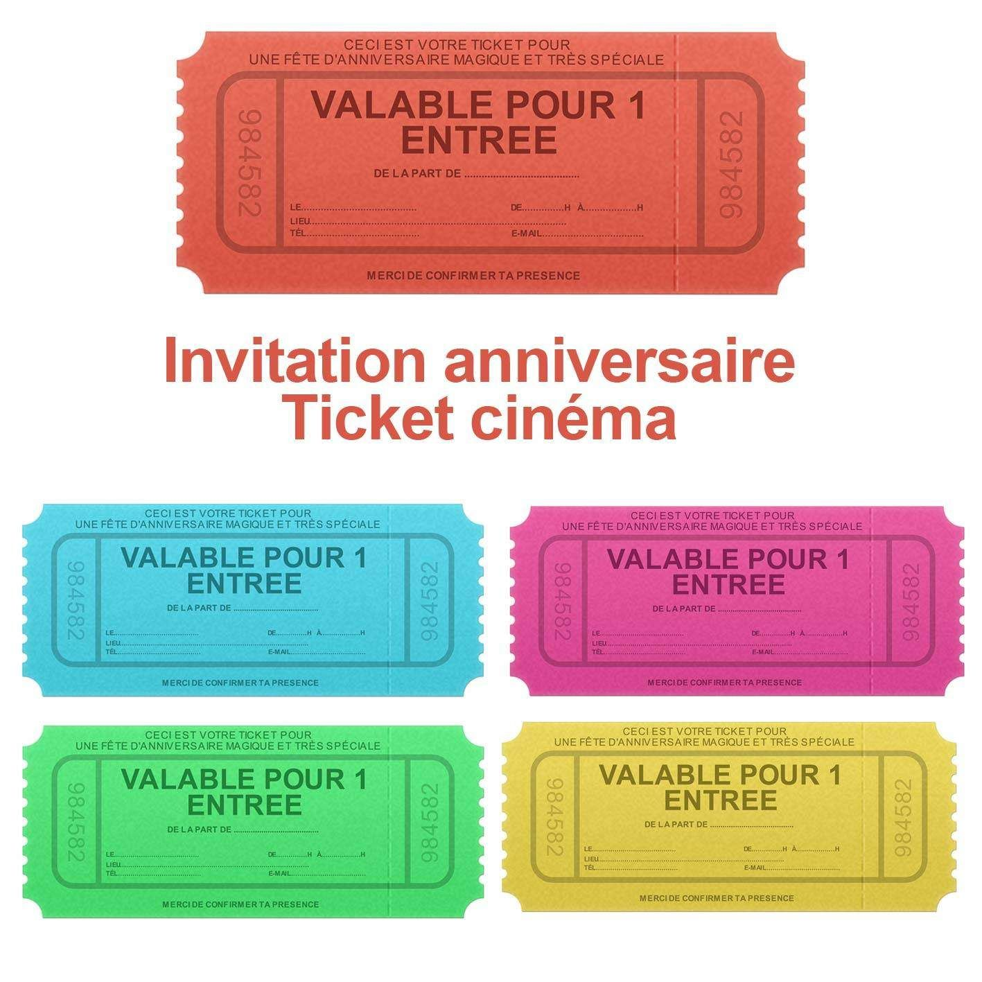 voici une magnifique invitation d 39 anniversaire sous forme de faux ticket d 39 entr e cin ma. Black Bedroom Furniture Sets. Home Design Ideas