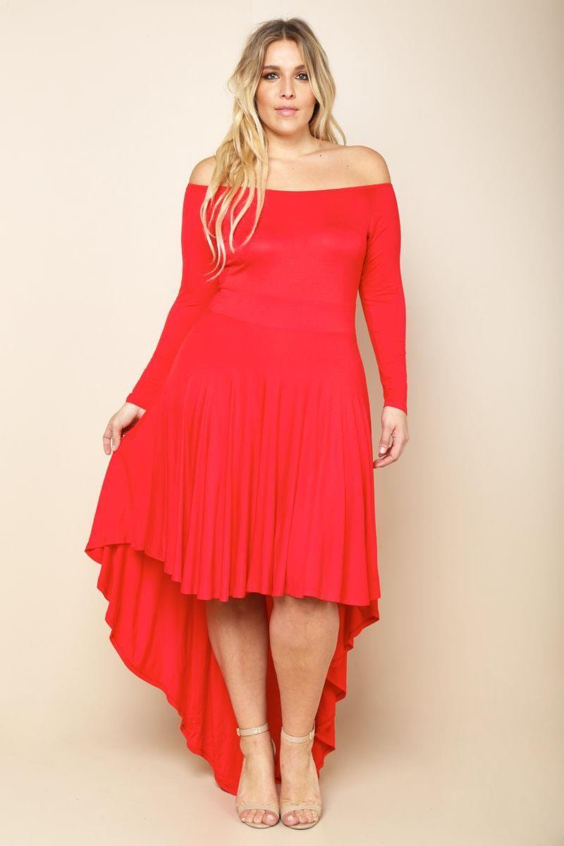 Plus Size Off Shoulder Hi-Lo Dress Dresses+ GS-LOVE | Plus ...