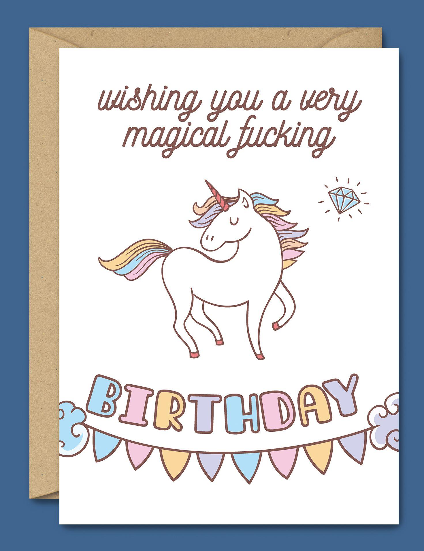 Wishing You A Very Magical Fucking Birthday Unicorn Cards