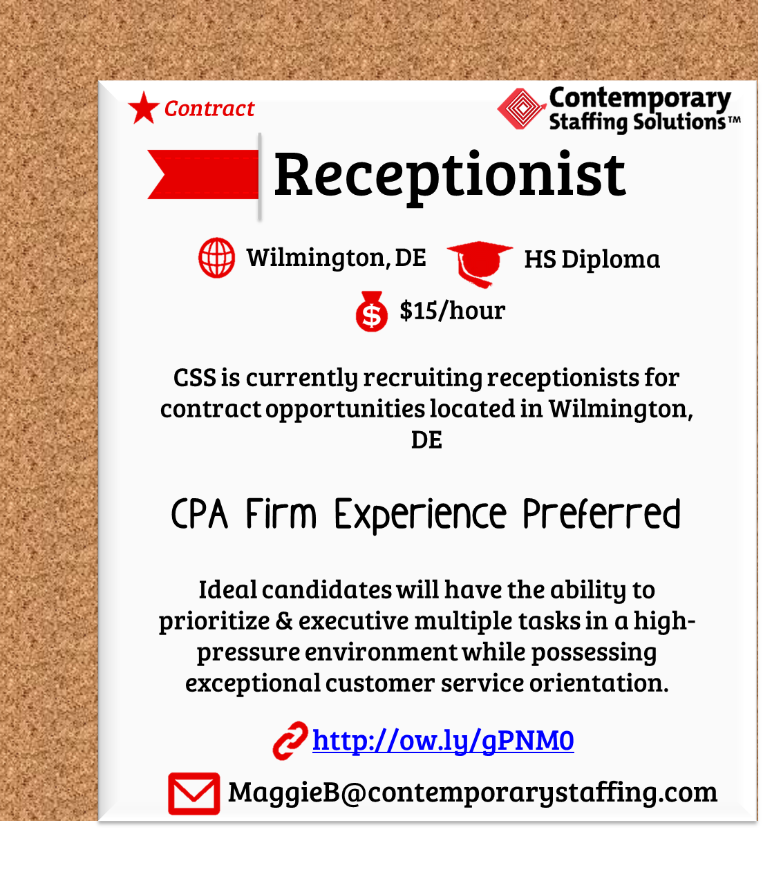 Css Is Hiring Receptionists In Wilmington De L Hr L Email