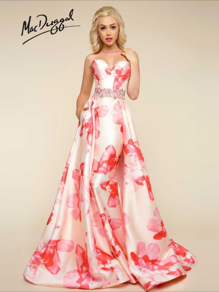 Floral Print Strapless Petal Peach Dress | Mac Duggal 79094H ...