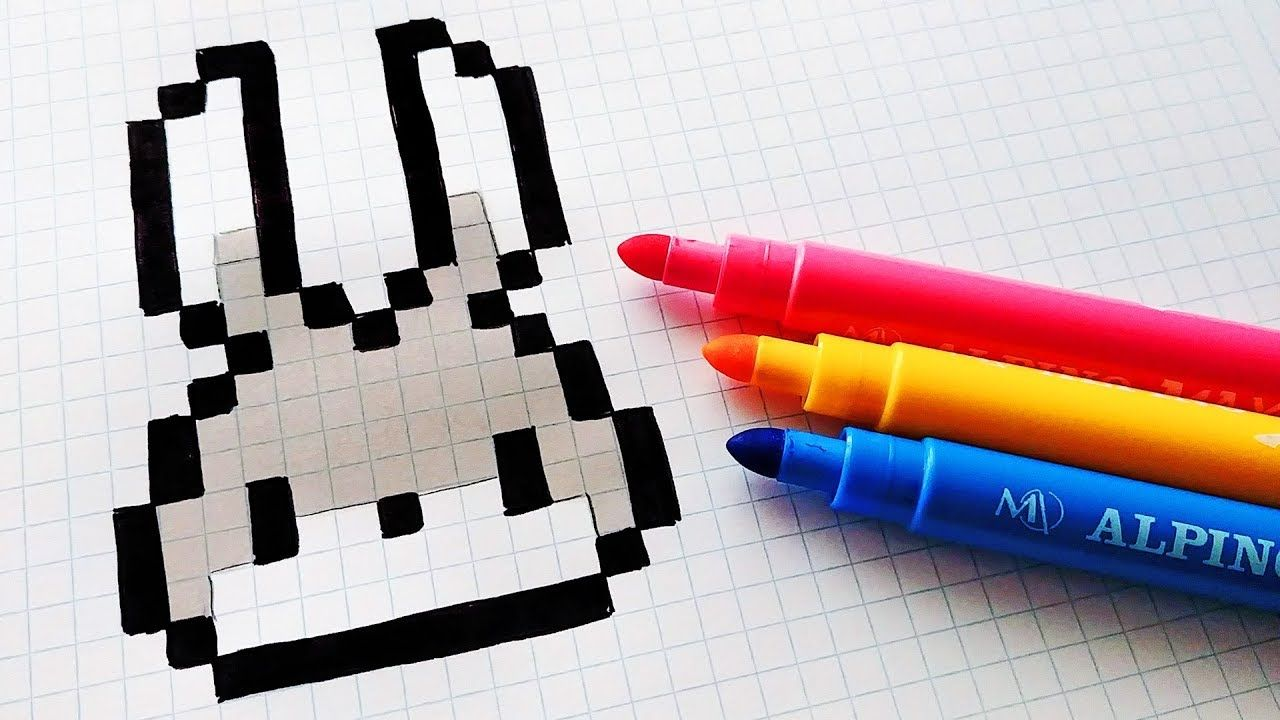 Handmade Pixel Art Comment Dessiner Un Lapin Kawaii
