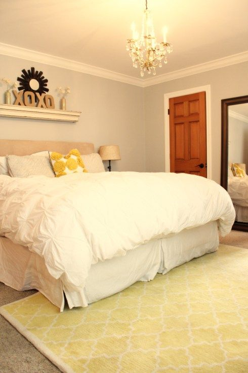 Guest Room Idea - Love the shelf over the headboard and loving these ...