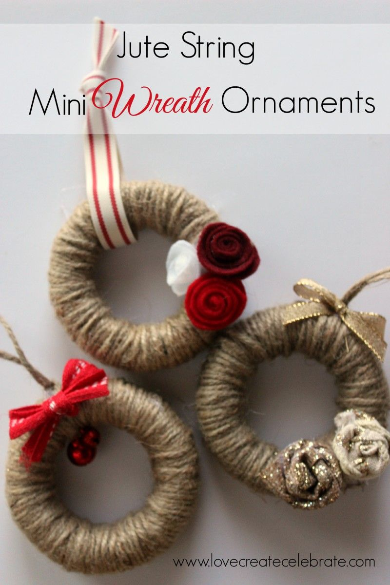 Jute String Mini Wreath Ornaments Red gold Christmas decor and Burlap