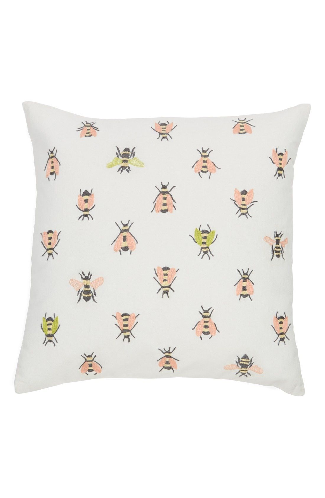Pink And Green Embroidered Bumblebees Buzz Across This Charming Accent  Pillow Perfect For Cozying Up In Bed.