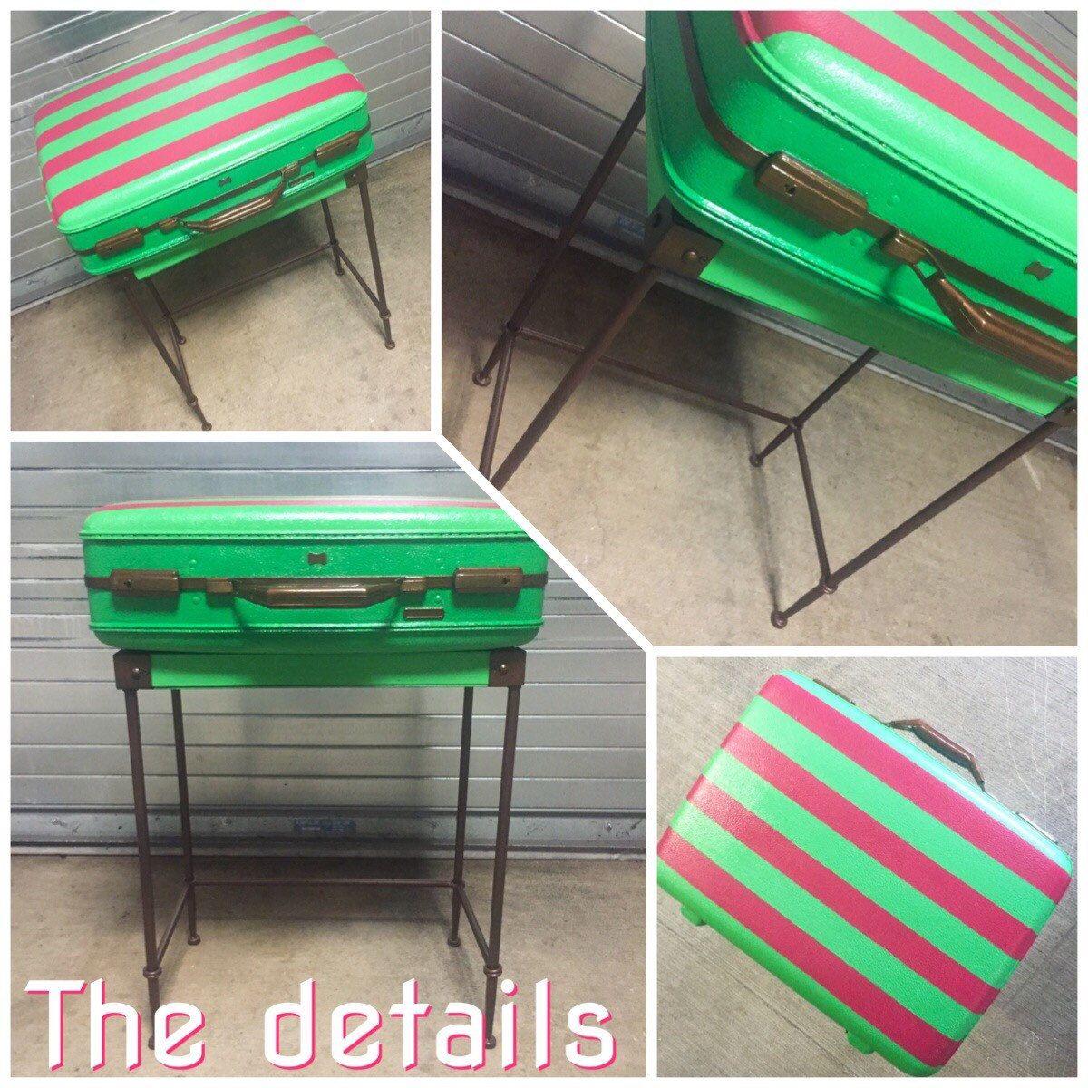 Preppy Suitcase Table #thedetails ETSY.com/shop/TWEAKITSHOP #pinkandgreen #preppydecor #stripes #industrialfurniture #aka #funky #unique #storage #upcycle #retro #vintage