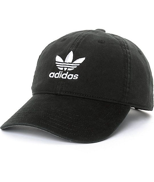 quality design f0b0d d1e36 The black adidas strapback hat features a classic curved bill with grey  underside, six panel construction, and a strap back sizing piece so you can  get that ...