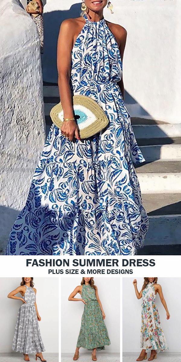 Mode Elegante Neckholder Ärmellos Print Maxi Kleid in 2020 ...