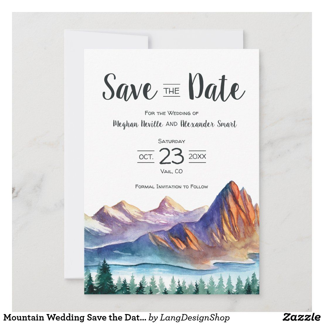 Mountain Wedding Save the Date with lake & forest | Zazzle.com in ...