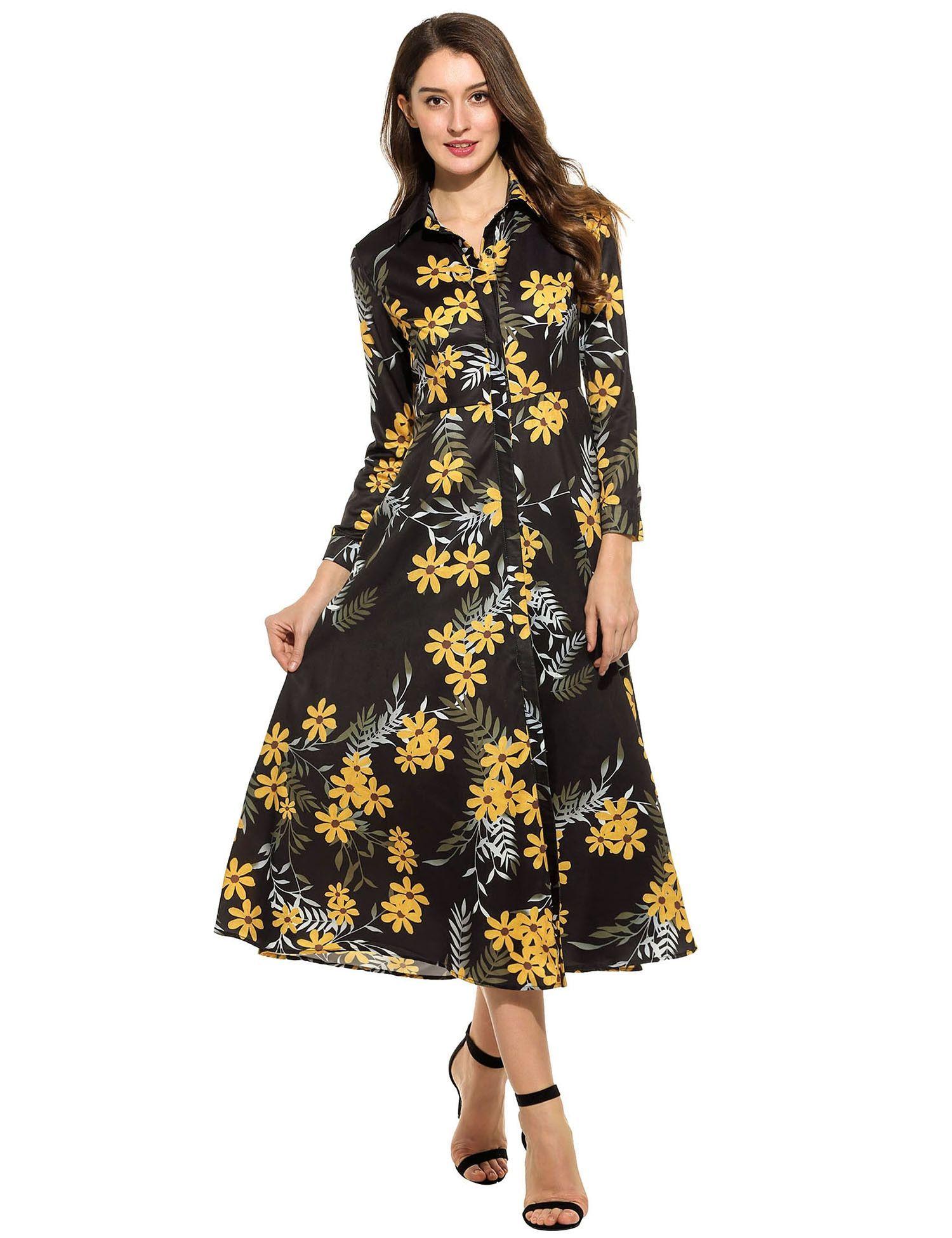 Women casual long sleeve print button down collar tunic maxi dress